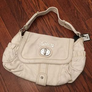 GUESS genuine leather white purse